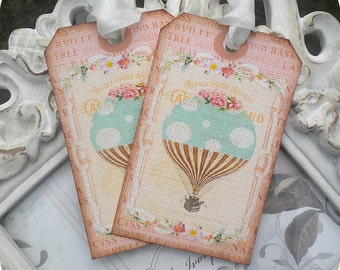 Hot Air Balloon Tags (6) Up Up Away Birthday-Up Up Away Baby Shower-Shabby Gift Tags-Shabby Balloon Tags-Hot Air Balloon Baby Shower