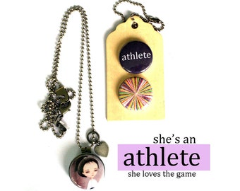 ATHLETE Locket Necklace, Gift for Athlete, Sports Girl Jewelry, Magnetic Locket, Interchangeable, 3 Necklaces in 1, Polarity, Solocosmo