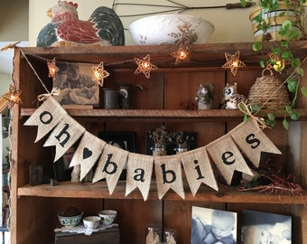 Burlap Baby Bunting, Baby Shower Decoration, Twins Bunting, Triplets Bunting, Pregnancy Photo Prop, Country Shower Decor, Rustic Bunting