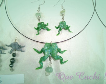Origami frog set with Aventurine chips and rock crystal