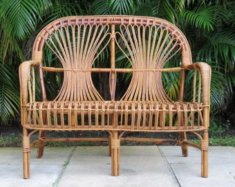 Franco Albini Style Mid-Century Modern Rattan Bench/Loveseat.