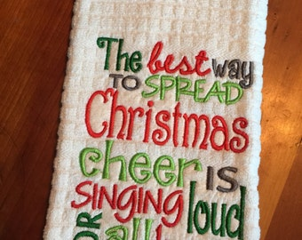 Embroidered Elf Christmas Cheer towel
