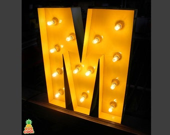 """20"""" / 50cm Bright Yellow Metal Marquee Letter Lights A-Z  All Numbers & Letters Custom Made In The UK"""