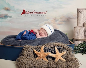 Baby Sailor Photo Prop/ Newborn Photo Prop/Sailor Hat and Pants Set/Nautical Newborn Prop/Sailor Boy/4th of July Prop/ Red White and Blue