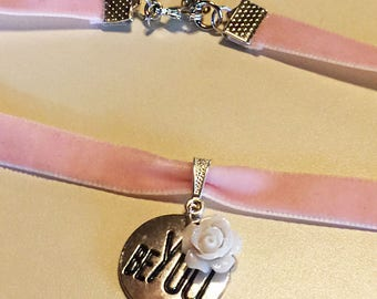Pink Velvet choker with Ivory Rose and Expression Charm - Be You