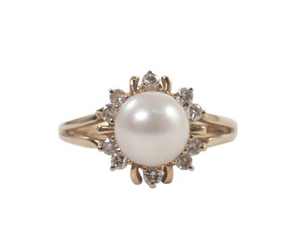 14k Yellow Gold Pearl and Diamond Ring, Cluster Ring, Pearl Ring, Vintage Jewelry, June Birthstone