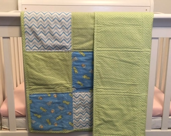 Dinosaur Theme Baby Quilt- READY TO SHIP!