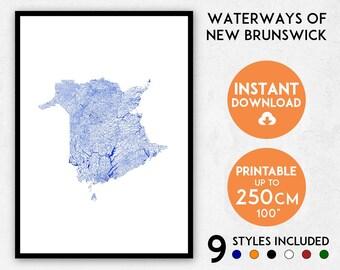 New Brunswick map print, New Brunswick print, Canada map, New Brunswick poster, New Brunswick wall art, Map of New Brunswick, Canada print