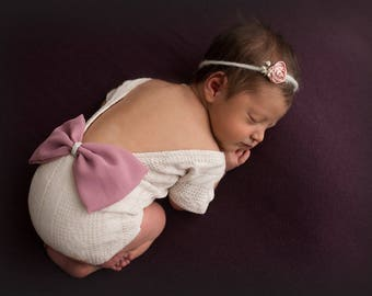 Amelia--SALE--Newborn Sweater Knit Romper-- Newborn Bow Bodysuit-- Newborn Photography Prop