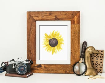 Watercolor Sunflower Printable Wall Art Fall Sunflower Print Fall Print Fall Decor Fall Floral Print Sunflower Decor Thanksgiving Decor Art