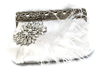 Bridal clutch, feather crystal evening bag, White clutch, wedding clutch, Vintage inspired clutch, Bridal evening bag