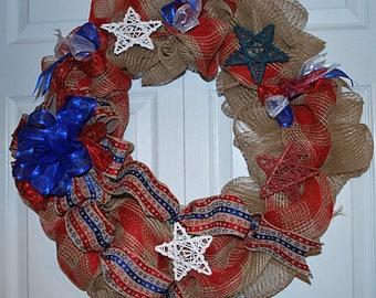 Patriotic, Burlap Wreath, Red stars, Blue stars, White stars, Blue ribbon Bow, Round wreath, Patriotic Woven Ribbon.