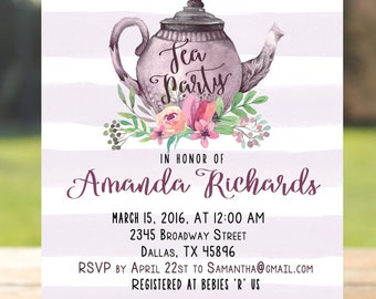 Printable all occasion tea party invitation tea pot tea party bridal shower invitation tea party baby shower invitation tea party invitation printable filmwisefo Gallery