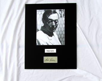 vintage Peter Lorre Autograph Autographed Signed Display Art Piece black and white photograph photo artwork