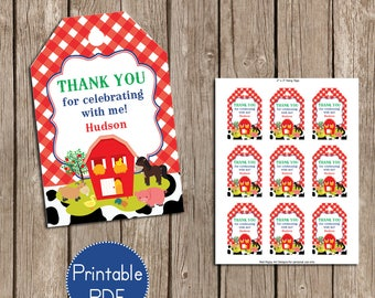 Farm Birthday, Barnyard Birthday Party Favor Tags- Printable, DIY