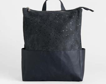 Suede Backpack, Vegan Leather Backpack, Black Laptop Bag, Minimalist Backpack, Vegan Rucksack, Travel Bag, Gift For Her, Faux Suede Backpack