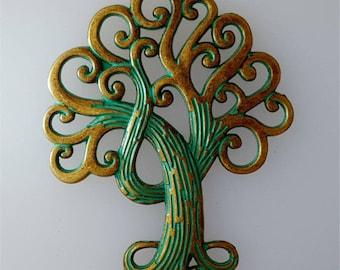 Large tree of life pendant antique bronze verdigris 73x58mm #3034