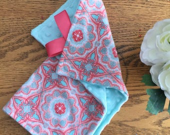 Bohemian Minky Lovey Baby Blanket, Coral/Turquoise Baby Blanket