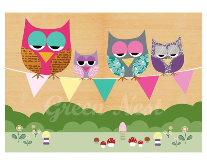 NEW A3 Format: Cute Owls sitting on a flag banner collage poster print