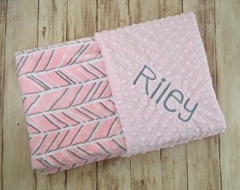 Monogrammed Baby Blanket - Minky Gray, White and Pink Herringbone, zig Zag, Personalized - Girl, Soft monogram blanket with name Newborn