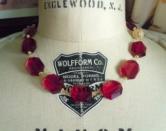 Ruby Swarovski Crystal Necklace with CZ Gold tone Clasp...FREE SHIPPING...Ready to Ship