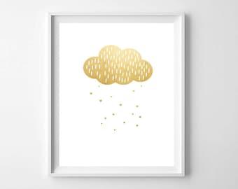 Gold Cloud Wall Art PRINTABLE - Nursery Decor- Modern Nursery Print - Gold Nursery Wall Art - Cloud and Heart Tears Print - Kids Room Decor