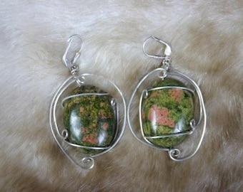 Sweet Charlet Earrings- Pink and Green Unakite