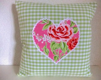 Cushion cover with heart, lime checkered fabric, heart of pink rose fabric