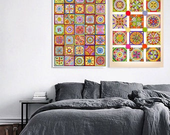 2 Original Drawings - Abstract art. Mosaic - Art Print, Wall Decor, Illustration