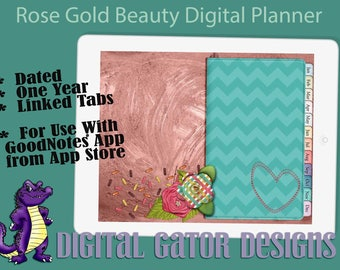 2018 Rose Gold Beauty Digital Planner with Linked Tabs and Dates