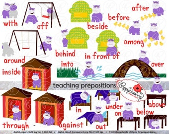 Teaching Prepositions Clipart & Digital Flashcards: Digital Image Set (300 dpi) School Teacher Clip Art Flashcards Reading Grammar Hippo