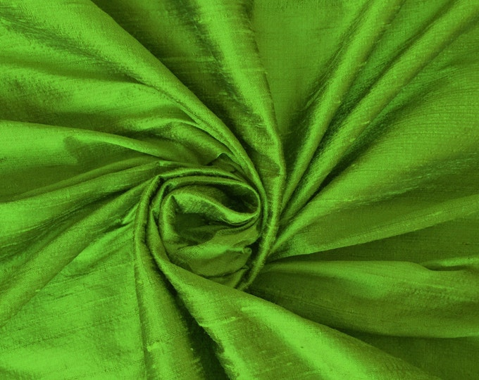 "Parrot Green 100% dupioni silk fabric yardage By the Yard 45"" wide"
