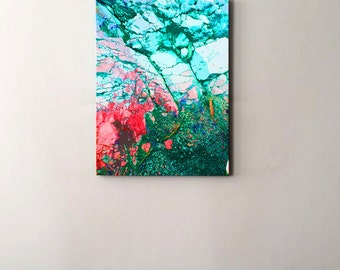 Abstract art - Turquoise Green to Hot Pink Landscape - LIMITED EDITION of 9