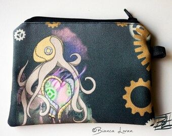 Steampunk Octopus Zippered Pouch - Coin Purse Wallet - anime artwork - Bianca Loran Art