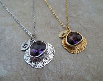 Gold or Silver February Amethyst Necklace with Filigree Leaf, Personalized Initial Leaf, Jewel(Bezel), Available in all Birthstones