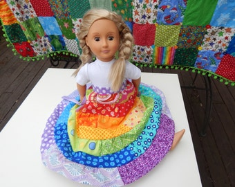 "American Girl Doll Dress My Twinn Doll Dress 18"" Doll Dress Doll Maxi Dress Doll Rainbow Dress"