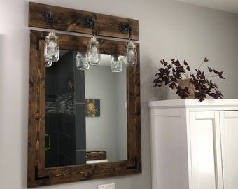 ESPRESSO Mirror, Farmhouse, Wood Frame Mirror, Rustic Wood Mirror, Bathroom Mirror, Wall Mirror, Vanity Mirror, Small Mirror, Large Mirror