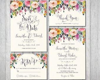 Wedding invitation kits etsy au floral wedding invitation kit bohemian flower invitation boho wedding suite rsvp thank you cards save the date rustic calligraphy sub1 stopboris Image collections