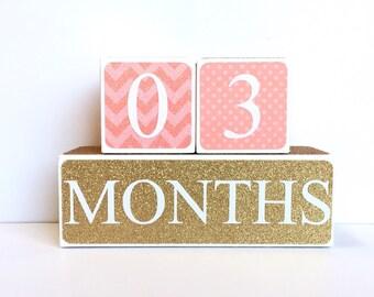 Wooden Baby Age Blocks - Months, Years, Weeks, Grade - Nursury- Photo Prop- Shower Gift