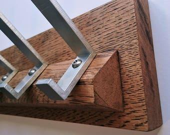 Rustic Modern Oak Coat Hooks     Solid Raw Oak and Aluminium     Modern     Contemporary     Floating     Oak Coat Rack