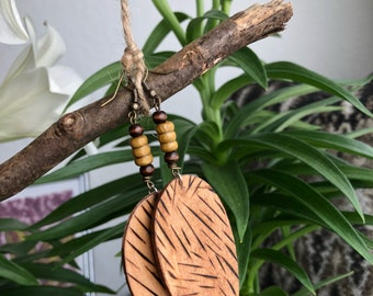 Woodburned tear drop earrings handmade with love. Nice for a night out on the town.