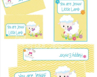 Easter JESUS LITTLE LAMB Treat Bag Toppers Tags diy Party Favor Bags Religious Jesus'