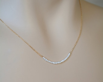 Teeny Tiny Pearl Necklace Bridal Bridesmaids Necklace