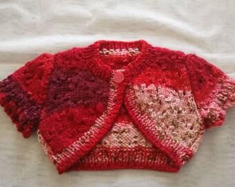 baby girls bolero hand knitted 0-3mths