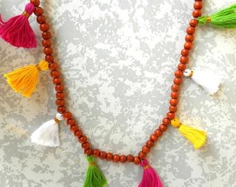 Mala Beaded Tassel Necklace, Wooden Bead Mala Necklace, Multi Tassel Wooden Mala Necklace, Wood Beaded Necklace, Wood Bead Tassel Necklace.