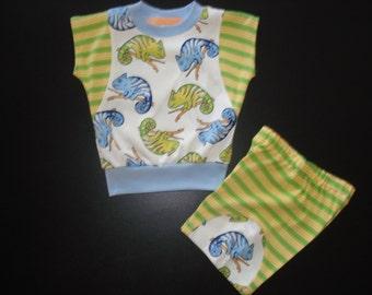 toddler short set - chameleon short set - 3 toddler short set - green and yellow striped short set - toddler set - handmade short set