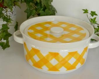 Yellow Tartan Sarreguemines earthenware, very tureen, french vintage