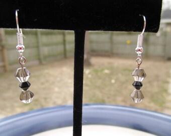 Smokey Grey Black Crystal Beaded Earrings with Silver Fishhook Posts