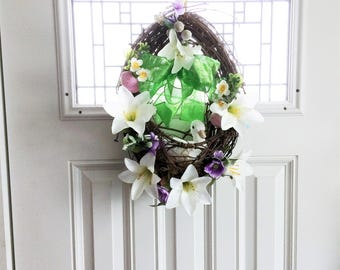 Easter Lily Wreath, Easter Wreath, Spring Wreath, Front Door Wreath, Spring Decor, Easter Decoration, Outdoor Wreath, Easter Egg Wreath