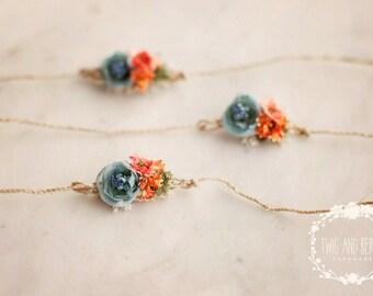Coral and Blue Flower Newborn Tieback. Baby Headband, Photography Prop, Newborn Headband, Newborn Photo Prop, Coral, Orange, Blue, Organic